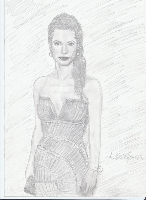 Sandra Bullock by sunflower
